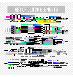 glitch effect elements set tv distortion noise vector image