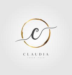 Gold elegant initial letter type c vector