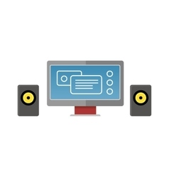 Gray Computer Monitor with Audio Speakers vector image