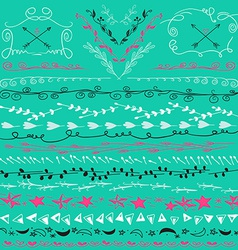 Hand drawn lines border branch frame arrows and vector image