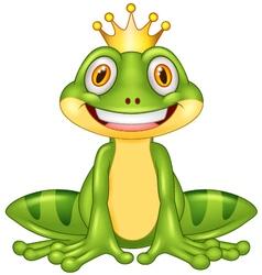 Happy cartoon king frog vector