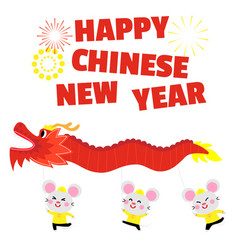 Happy chinese new year card with cute rat vector