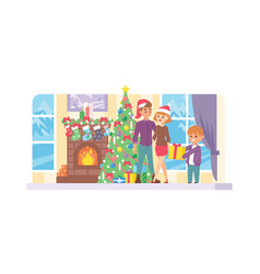 happy family celebrate christmas time new year at vector image