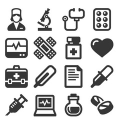 Health and medical icons set on white background vector