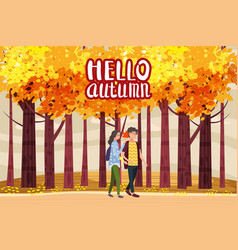 hello autumn autumn alley couple guy and girl vector image