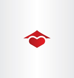 home sweet home logo heart and house roof icon vector image