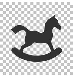 Horse toy sign Dark gray icon on transparent vector