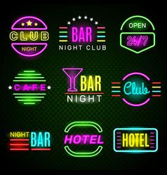 hotel neon advertising american retro night club vector image
