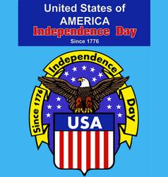 independence day america banner flag eagle badges vector image