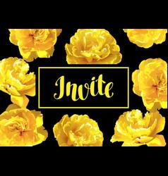 invitation card fluffy yellow tulips beautiful vector image