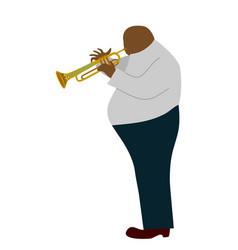 isolated fat black man playing trombone cartoon vector image