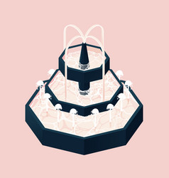 isometric fountain with water three levels pink vector image