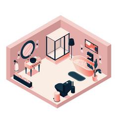 isometric pink bathroom with toilet plumbing sink vector image