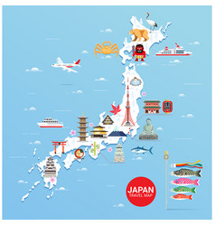 Japan famous landmarks travel map vector