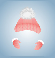 knitted hat with pompon and gloves with fur vector image