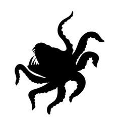 Kraken giant octopus silhouette ancient mythology vector