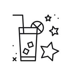 lemonade thin line icon ice tea drink cold vector image