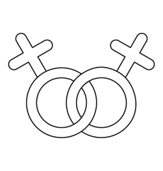 Lesbian love sign icon outline style vector