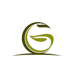 letter g green eco vector image