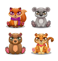 little cute cartoon pet icons set vector image