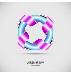 Logo banner of metal ribbon around iron circle pip vector image