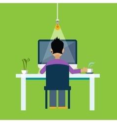 Man Behind the DeskWorking Freelance vector