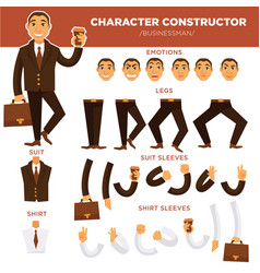 Man character constructor businessman face suit vector
