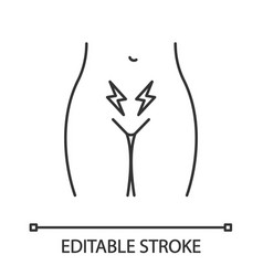 menstrual cramps and pain linear icon vector image
