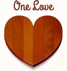 one love wood heart vector image