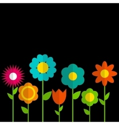 Paper Trendy Flat Flower Set vector image