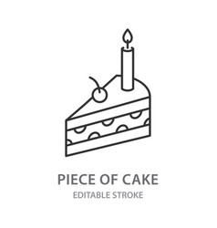 piece cake line icon on white background vector image