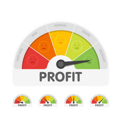 Profit meter with different emotions measuring vector