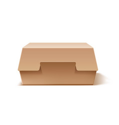 realistic cardboard burger box mock up vector image