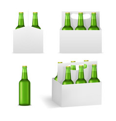 realistic detailed 3d beer bottles pack set vector image