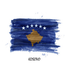 Realistic watercolor painting flag of kosovo vector