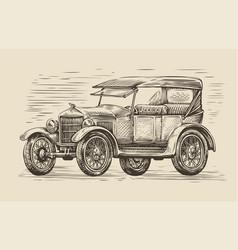 retro car sketch automobile vintage vector image