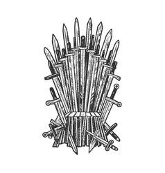 Royal throne swords sketch vector