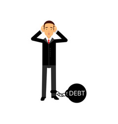 sad businessman character with a big debt weight vector image