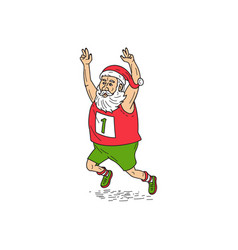 Santa claus father christmas running marathon vector