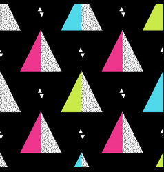 Seamless retro memphis pattern with triangle vector