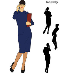 Secretary is talking on the phone vector