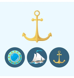 Set icons with sailing vessel anchor porthole vector image