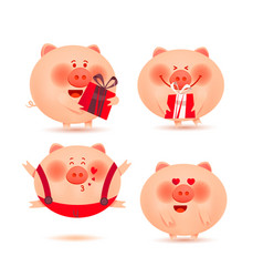 set of cheerful and cute piglets christmas pigs vector image