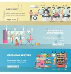set of cleaning service concept banners vector image