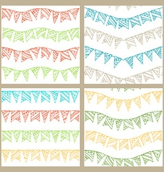 Set of doodles seamless patterns of garlands vector