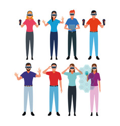 set of people using virtual reality vector image