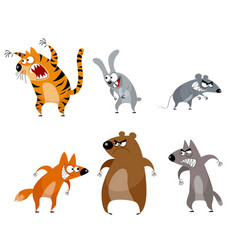 six funny animals vector image