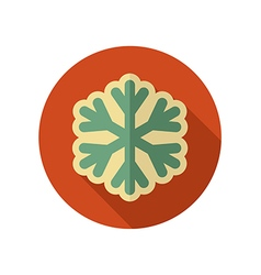 Snowflake Snow retro flat icon Weather vector image