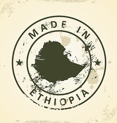 Stamp with map of Ethiopia vector