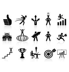 Successful business icons set vector